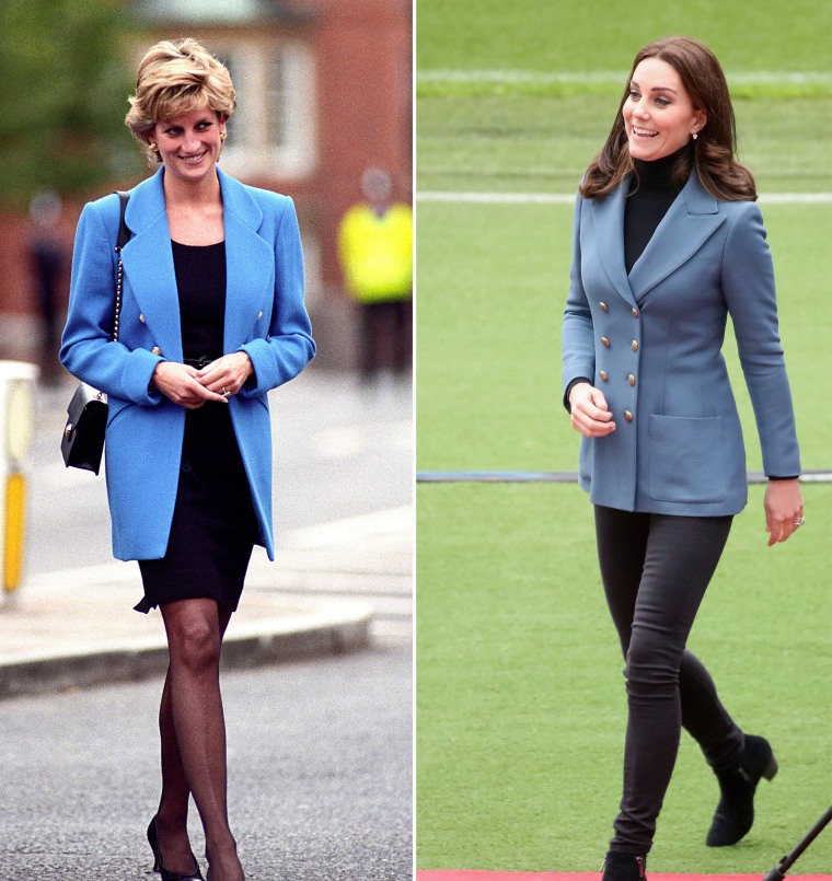 Princess Diana and Kate Middleton in blue blazers