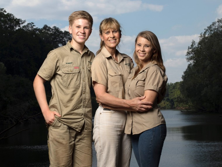 "This image released by Animal Planet shows the Irwin family, from left, Robert, Terri and Bindi. The Irwin family is returning to television's Animal Planet, 11 years after the death of ""The Crocodile Hunter"" star and family patriarch Steve Irwin."