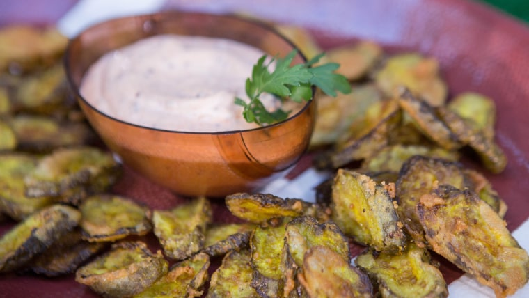 Gail Simmons' Cornmeal-Crusted Pickle Chips