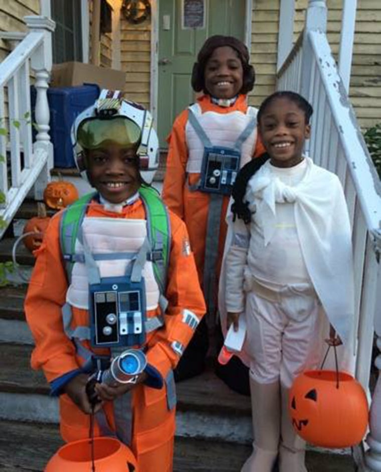 Even though Gretchen Kirby's three younger children have food allergies they love trick-or-treating to show off their cool costumes. With or without the Force they know how to be smart about Halloween treats.