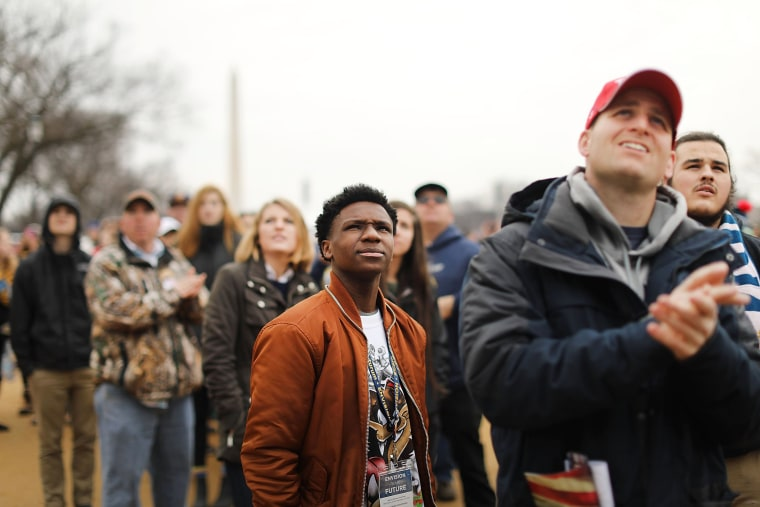 Image: People watch from the National Mall the inauguration of Donald Trump