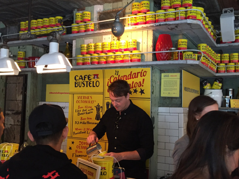 Inside a Cafe Bustelo pop-up store on corner of Broome and Mott Streets in New York City.