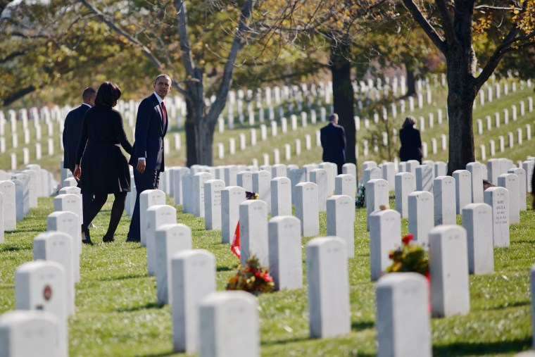 Image: Barack Obama and Michelle Obama at Arlington National Cemetery