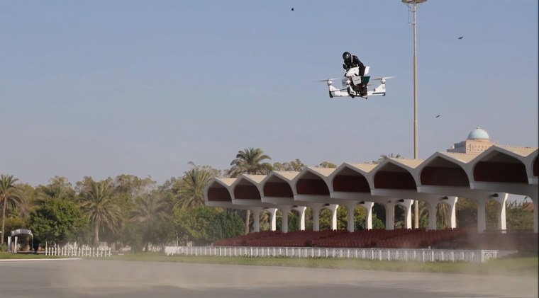 A pilot maneuvers a Hoversurf during a demonstration in Dubai.