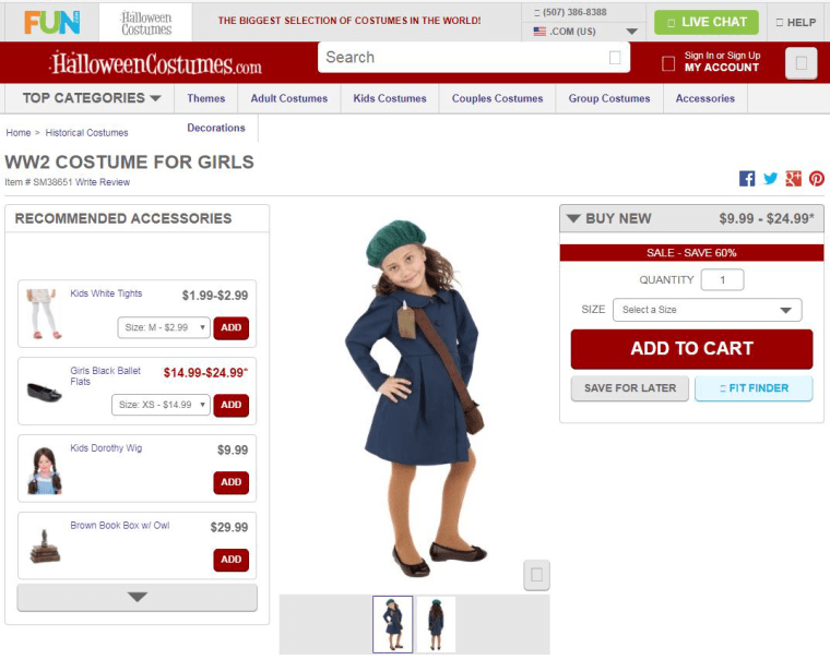 Image: Anne Frank costume pictured on the Halloween Costumes website