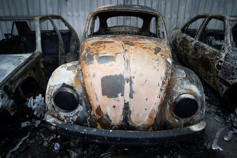 Image: Burnt vehicles are seen after a forest fire in Miro, near Penacova
