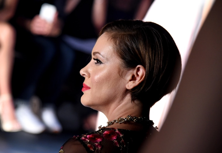 Image: Actress Alyssa Milano attends the Marchesa fashion show