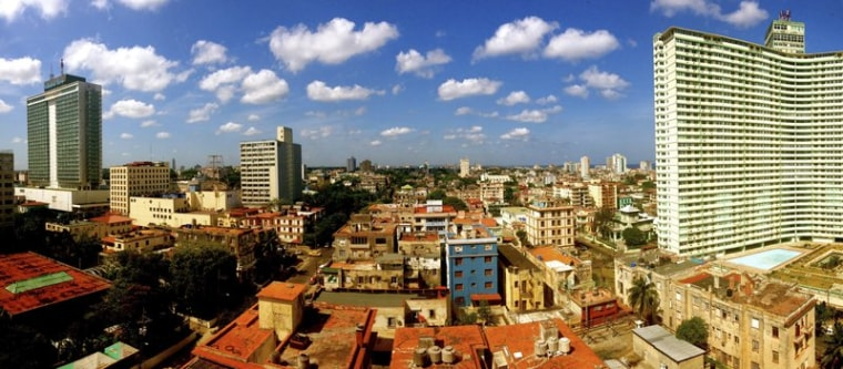 This image provided by Chris Allen shows the view in Havana, Cuba, from his hotel room - room 1414 - at Hotel Capri in April 2014.