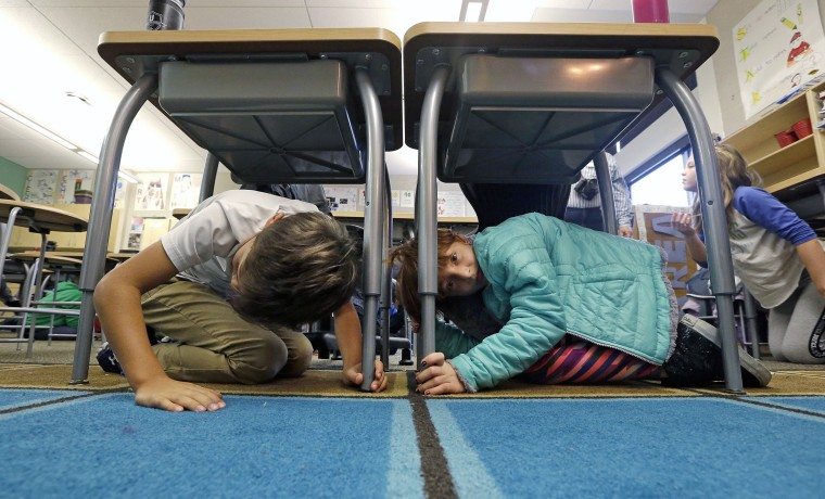 Image: annual earthquake drill, the Great ShakeOut