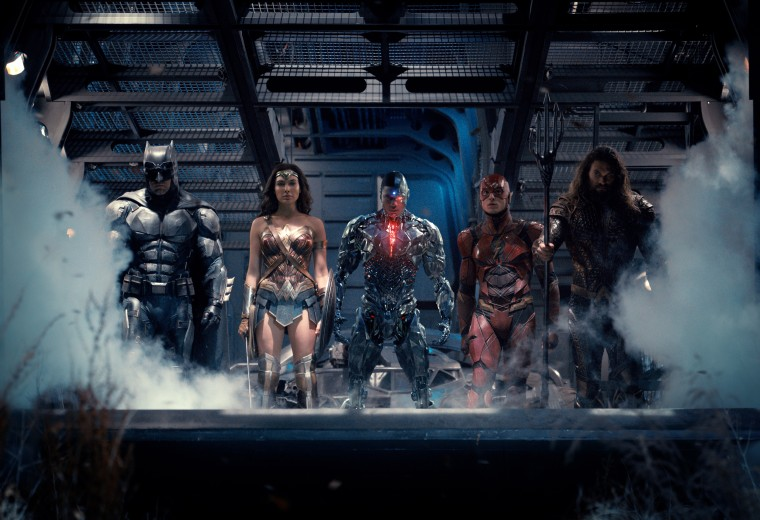 Image: Ben Affleck as Batman, Gal Gadot as Wonder Woman, Ray Fisher as Cyborg, Ezra Miller as The Flash and Jason Momoa as Aquaman