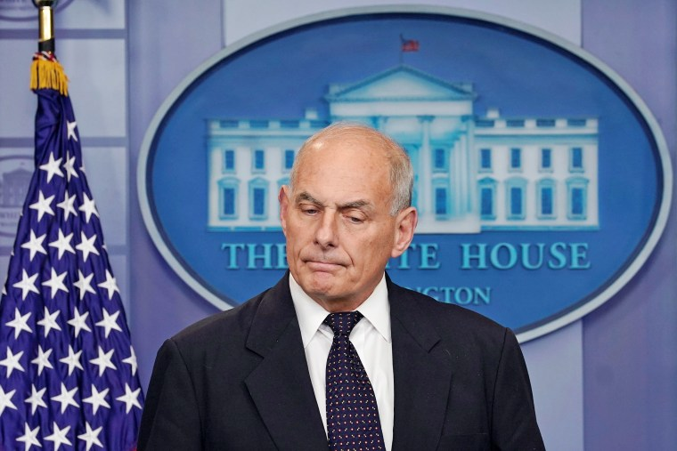 Image: White House Chief of Staff John Kelly speaks during a daily briefing at the White House in Washington