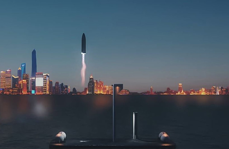 An artist's conception shows a passenger rocket landing in Shanghai.