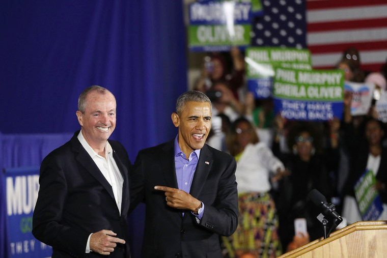 Image: Obama Returns To Campaign Trail At Rally For NJ Gubernatorial Candidate