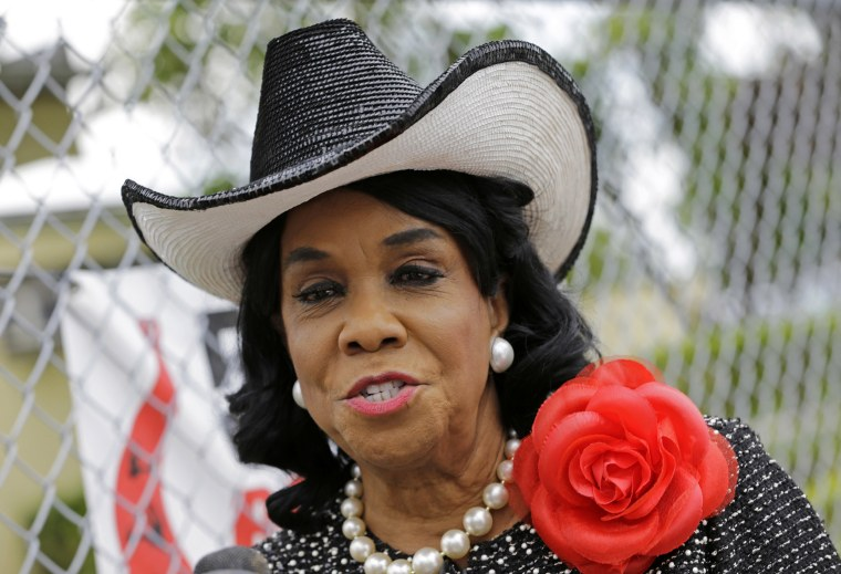 Image: Rep. Frederica Wilson (D-FL) talks to reporters on Oct. 18, 2017, in Miami Gardens, Florida.