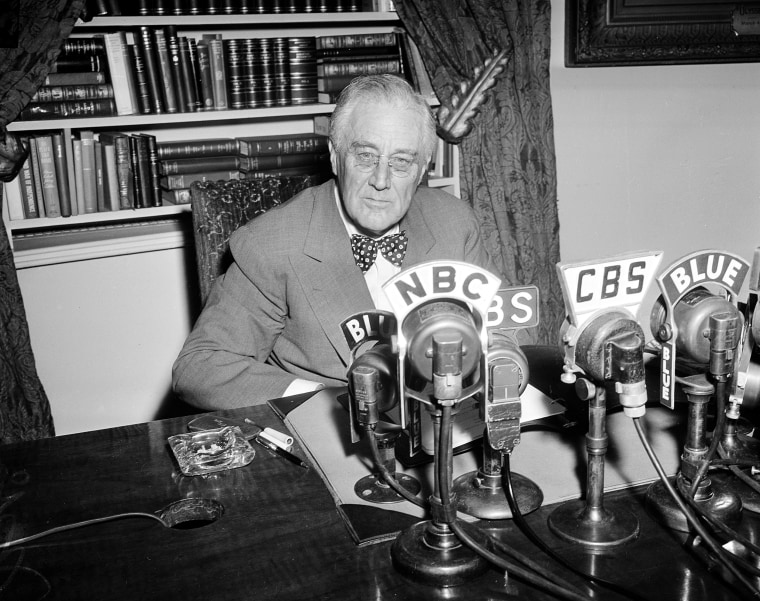 "Image: U.S. President Franklin Roosevelt is seen shortly before addressing the public ""On the Fall of Rome,"" in one of his Fireside Chats"
