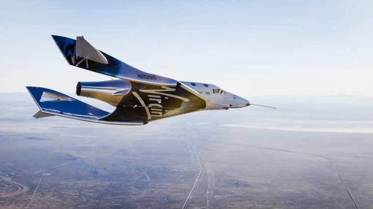 Image: Virgin Spaceship Unity (VSS Unity) glides for the first time after being released from Virgin Mothership Eve (VMS Eve) over the Mojave Desert on Dec. 3, 2016