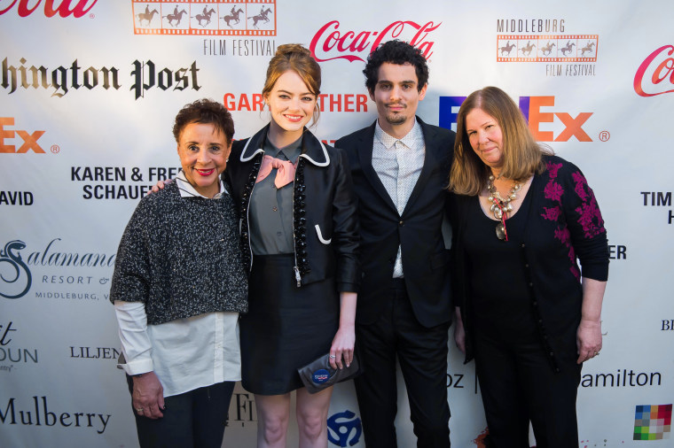 Image: Sheila Johnson poses with actress Emma Stone, writer and director Damien Chazelle and festival director Susan Koch at the Middleburg Film Festival.
