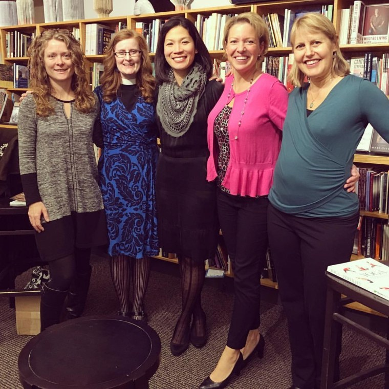 Annie Kuo (center) is seen here with authors who have written books about infertility and perinatal loss. Kuo emceed the fertility authors' panel and book signing in Seattle.