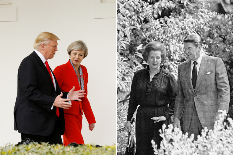 Image: Trump with May in 2017; Reagan with Thatcher in 1982