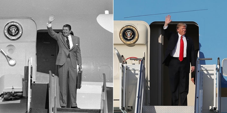 Image: Reagan in 1982; Trump in 2017