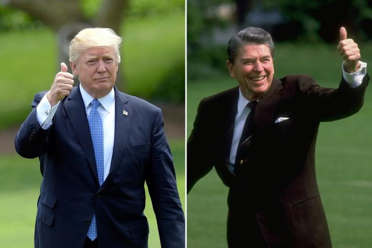 Image: Trump in 2017; Reagan in 1989