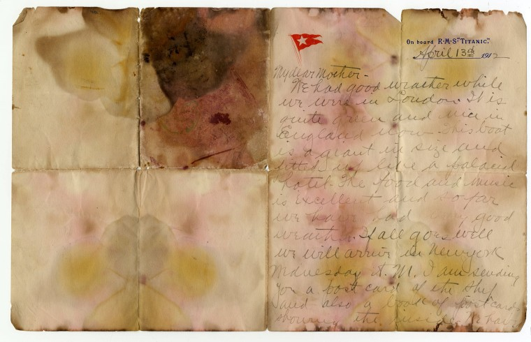 Image: A letter written on April 13, 1912 and recovered from the body of Alexander Oskar Holverson, a Titanic victim, is seen in this photograph received in London