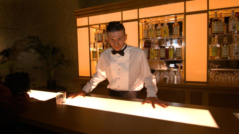 "Gold Room bartender in ""The Shining"" haunted house at Halloween Horror Nights."