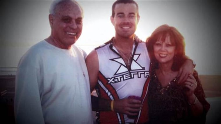 Carson Daly poses with his parents, Richard Caruso and Pattie Daly Caruso, in an undated photo.