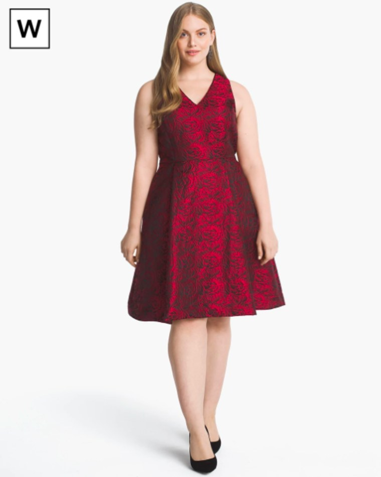 White House Black Market Plus Rose-Print Jacquard Fit-and-Flare Dress