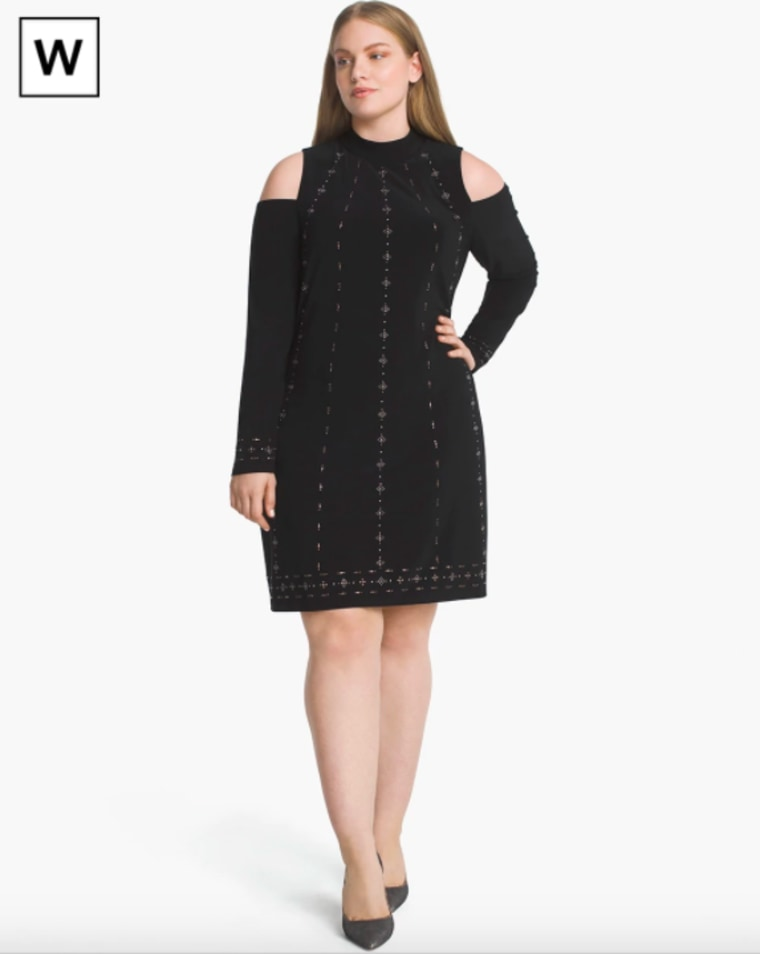 White House Black Market Plus Cold-Shoulder Black Knit Shift Dress