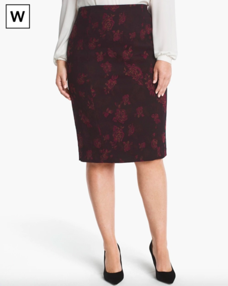 White House Black Market Plus Rose Print Jacquard Pencil Skirt