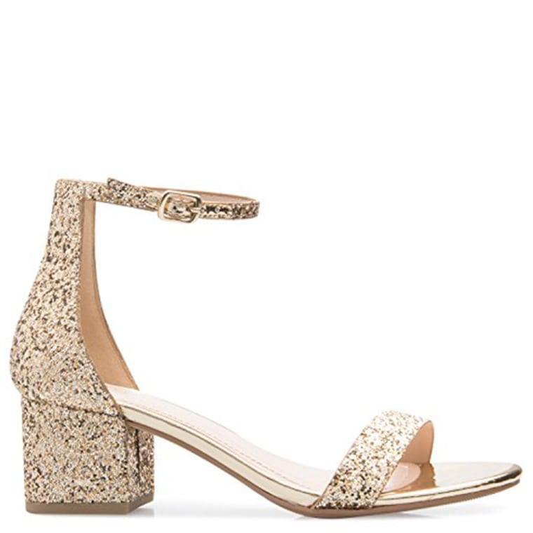 Olivia K Women's Ankle Strap Kitten Heel