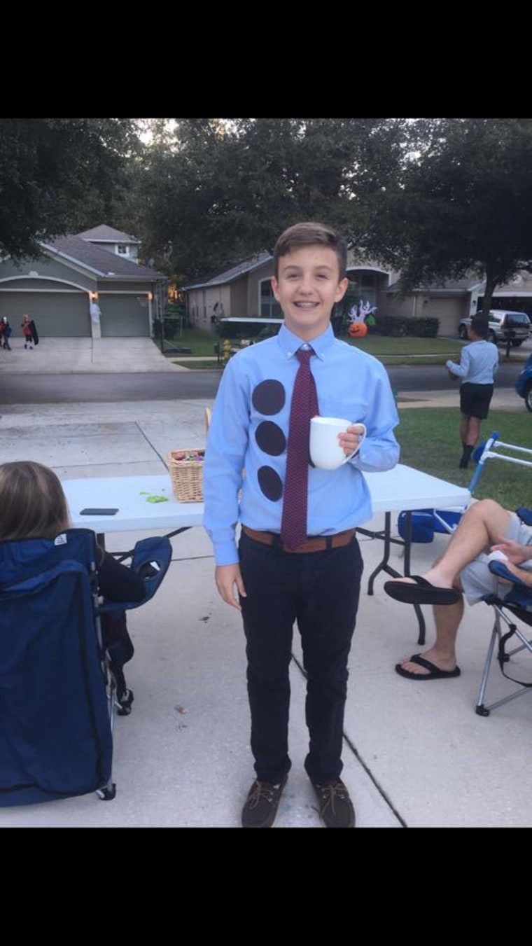 """Owen Maksimovich, who dressed up as Jim from """"The Office"""" last year as a 13-year-old eighth grader, still loves coming up with costume ideas."""