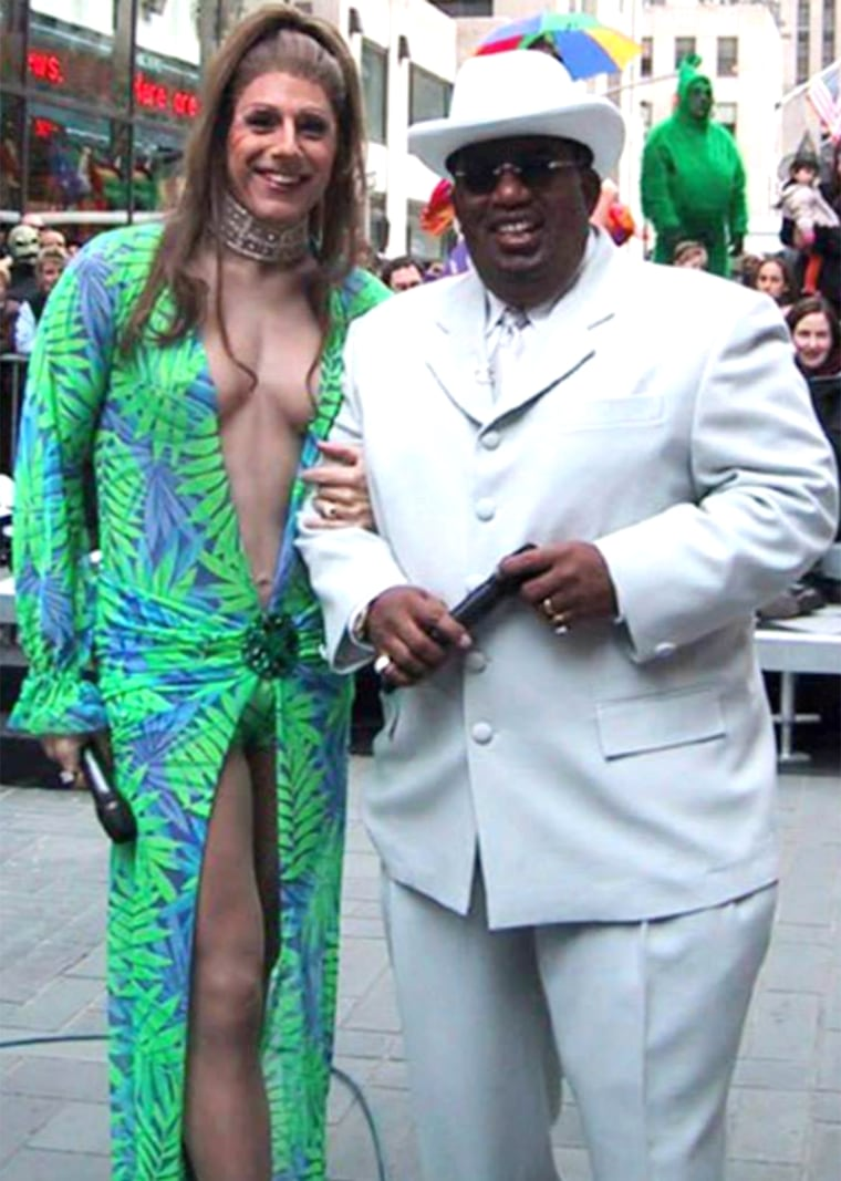 "Matt Lauer dressed as pop sensation Jennifer Lopez and Al Roker as Sean ""Puffy"" Combs."