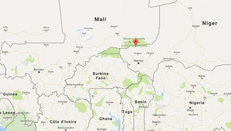 A map showing the location of Tongo Tongo, Niger.