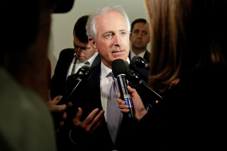 Image: Senator Bob Corker (R-TN) speaks to reporters on Capitol Hill in Washington