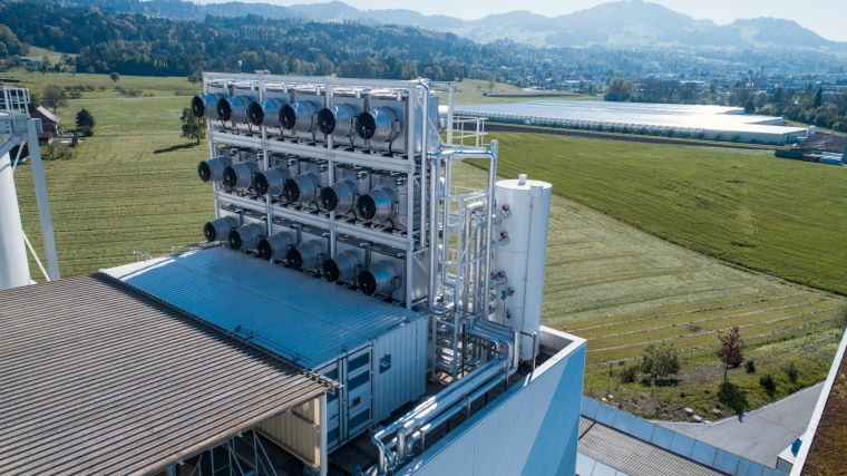 Image: A Climeworks plant in Hinwil, Switzerland