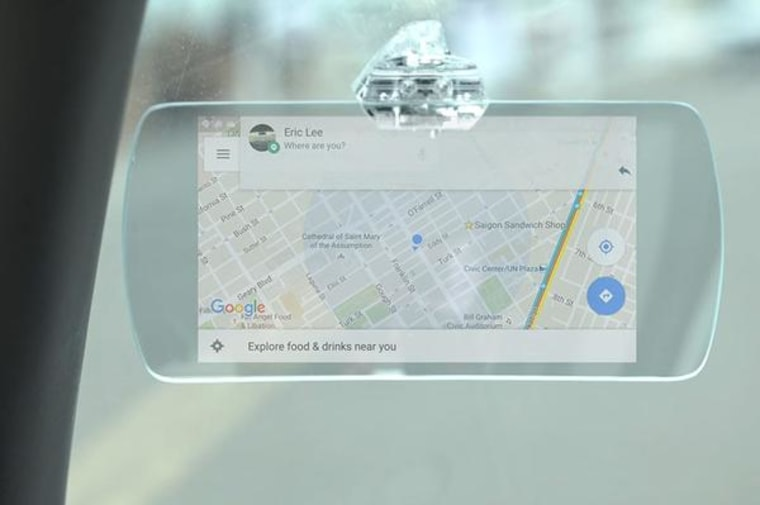 No nav? No problem. The Hudly Head-Up Display projects images onto a curved glass display on the windshield, mirroring what's on your iPhone or Android phone.