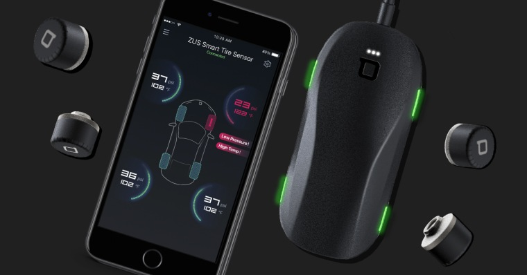 With the Zus Smart Tire Safety Monitor, sensors in the valve caps send the tire pressure and temperature info to the receiver, which you monitor in the app.