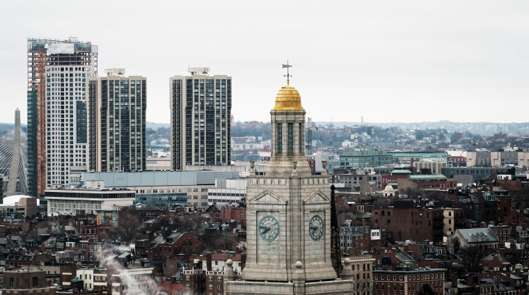Image: A clock tower in downtown Boston.