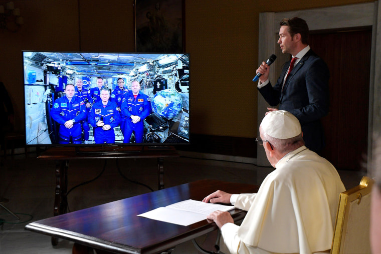Image: Pope Francis joins a video conference with crew members of the International Space Station