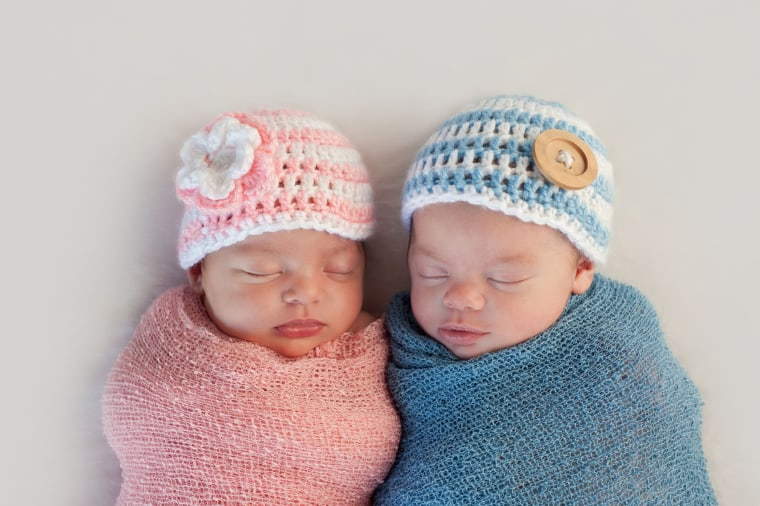 Image: Boy and Girl Fraternal Twin Newborn babies