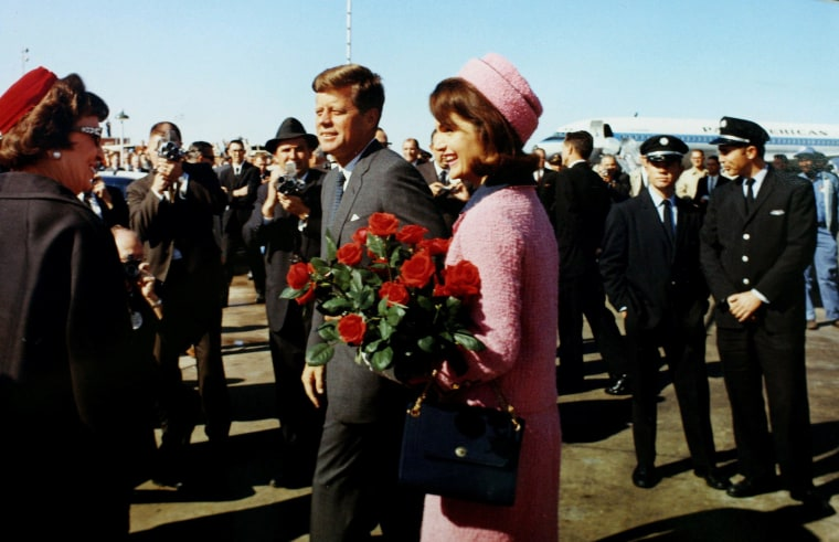 Image: President John F. Kennedy and first lady Jacqueline Bouvier Kennedy arrive at Love Field