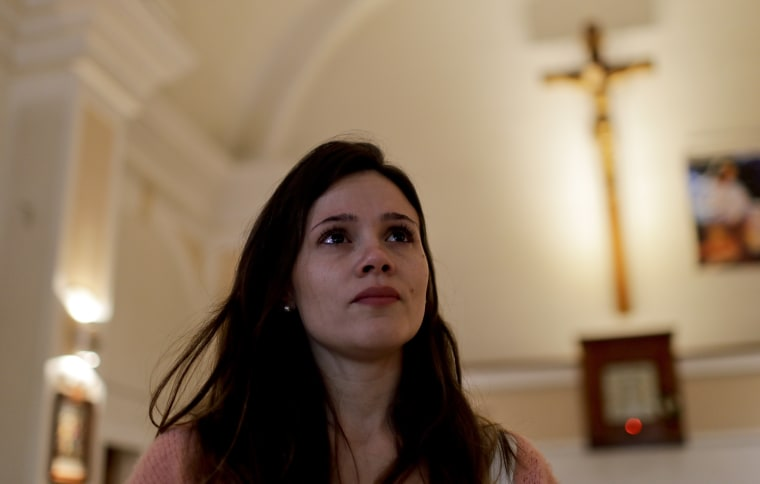 Mailin Gobbo, 29, says she was abused as a child by Catholic priest Carlos Jose, and decided to speak publicly after the birth of her daughter.