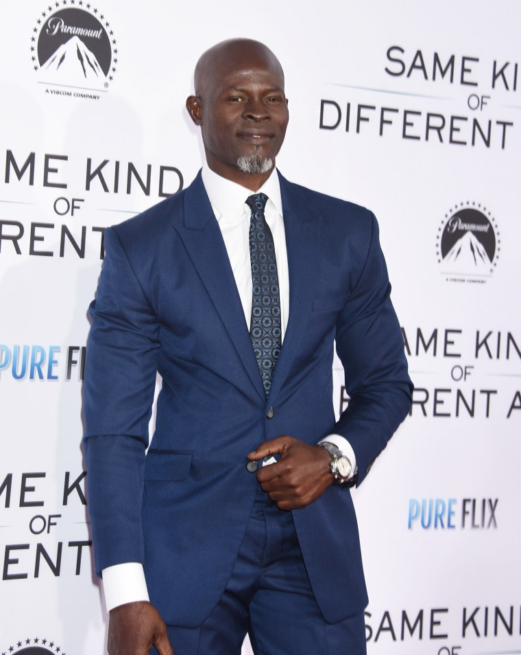 Image: Djimon Hounsou arrives at the 'Same Kind of Different as Me' film premiere in Los Angeles on Oct. 12, 2017.