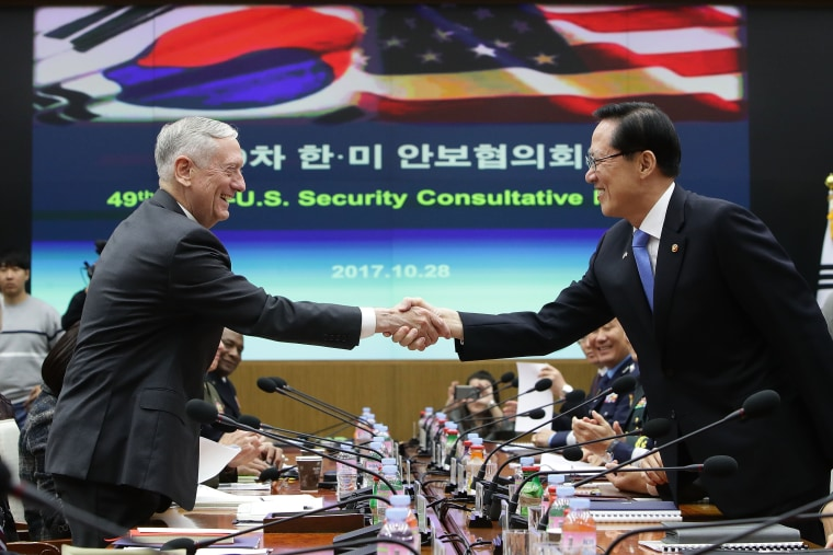 Image: Defense Secretary James Mattis shakes hands with South Korean Defense Minister Song Young-moo in Seoul amid talks over North Korea.