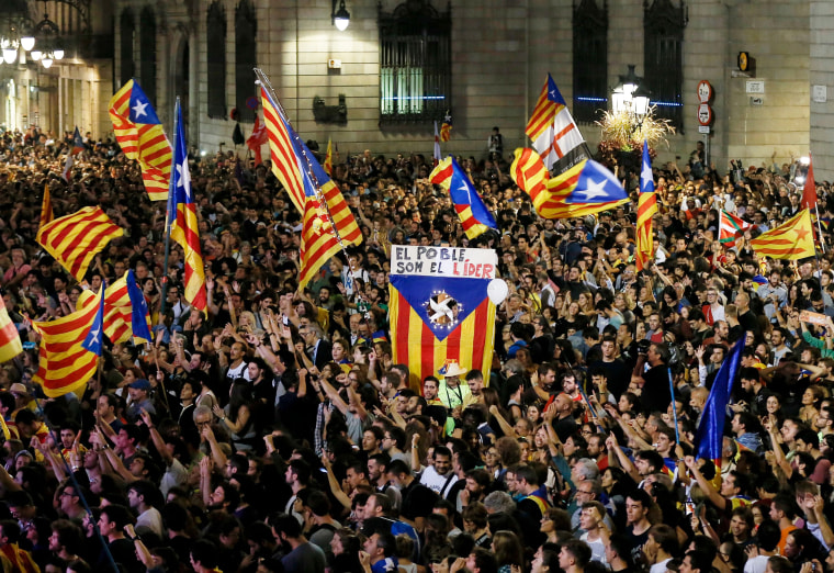 Image: People gather to celebrate the proclamation of a Catalan republic