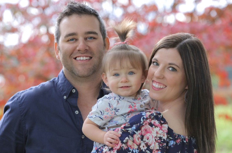 Dan and Krystle Medford with their rainbow baby, Harper, 2, who was born after their son, Easton, was stillborn in 2013.