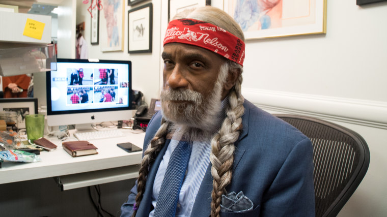 Al Roker gets dressed as Willie Nelson for TODAY's Halloween show.