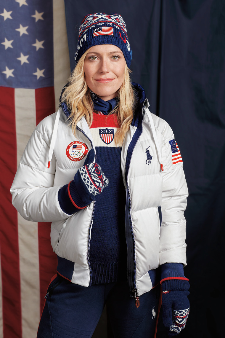Olympian Jamie Anderson models Team USA's official closing ceremony uniform for the 2018 Winter Games.